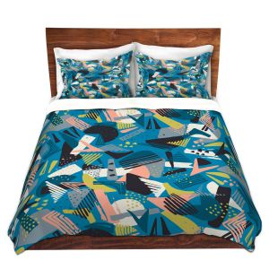 Artistic Duvet Covers and Shams Bedding   Metka Hiti - Patch Work Geos   Abstract shapes pattern triangles arrows etches