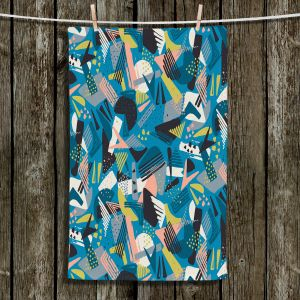 Unique Bathroom Towels | Metka Hiti - Patch Work Geos | Abstract shapes pattern triangles arrows etches