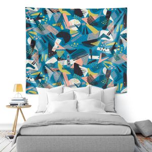 Artistic Wall Tapestry | Metka Hiti - Patch Work Geos | Abstract shapes pattern triangles arrows etches