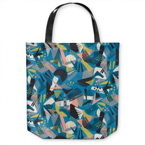 Unique Shoulder Bag Tote Bags | Metka Hiti - Patch Work Geos | Abstract shapes pattern triangles arrows etches