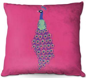 Throw Pillows Decorative Artistic | Metka Hiti - Peacock Pink | nature bird graphic