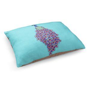 Decorative Dog Pet Beds | Metka Hiti - Peacock Teal | nature bird graphic