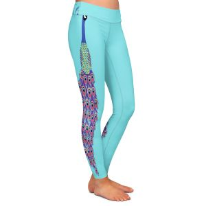 Casual Comfortable Leggings | Metka Hiti - Peacock Teal | nature bird graphic