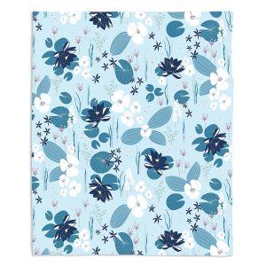 Decorative Fleece Throw Blankets | Metka Hiti - Pond | Floral Flowers pattern