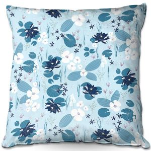 Decorative Outdoor Patio Pillow Cushion | Metka Hiti - Pond | Floral Flowers pattern