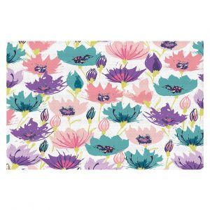 Decorative Floor Covering Mats | Metka Hiti - Poppies | Flower nature graphic pattern pastel