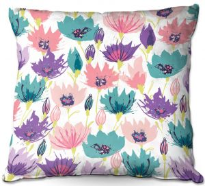 Decorative Outdoor Patio Pillow Cushion | Metka Hiti - Poppies | Flower nature graphic pattern pastel