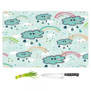 Artistic Kitchen Bar Cutting Boards | Metka Hiti - Rainbow Clouds Blue