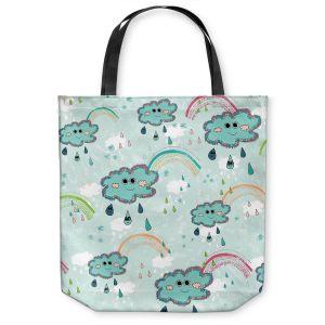 Unique Shoulder Bag Tote Bags |Metka Hiti - Rainbow Clouds Blue