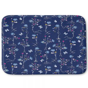 Decorative Bathroom Mats | Metka Hiti - Roots Blue | Nature flower bloom butterfly