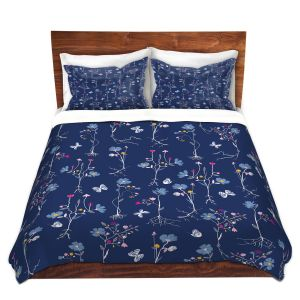 Artistic Duvet Covers and Shams Bedding | Metka Hiti - Roots Blue | Nature flower bloom butterfly