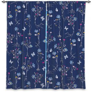 Decorative Window Treatments | Metka Hiti - Roots Blue | Nature flower bloom butterfly