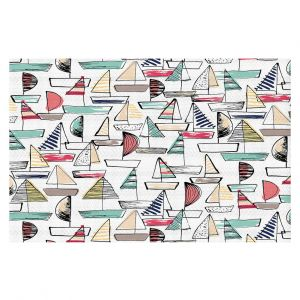 Decorative Floor Covering Mats | Metka Hiti - Sailboats | Ocean water harbor pattern repetition