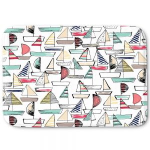 Decorative Bathroom Mats | Metka Hiti - Sailboats | Ocean water harbor pattern repetition