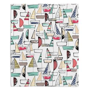 Decorative Fleece Throw Blankets | Metka Hiti - Sailboats | Ocean water harbor pattern repetition