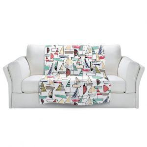 Artistic Sherpa Pile Blankets | Metka Hiti - Sailboats | Ocean water harbor pattern repetition