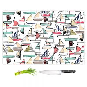 Artistic Kitchen Bar Cutting Boards | Metka Hiti - Sailboats | Ocean water harbor pattern repetition