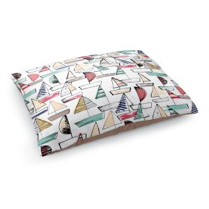 Decorative Dog Pet Beds | Metka Hiti - Sailboats | Ocean water harbor pattern repetition