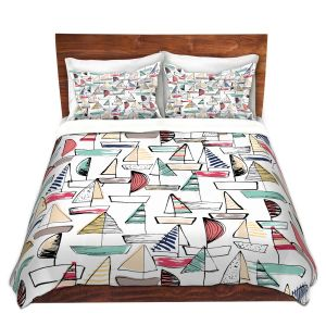 Artistic Duvet Covers and Shams Bedding | Metka Hiti - Sailboats | Ocean water harbor pattern repetition