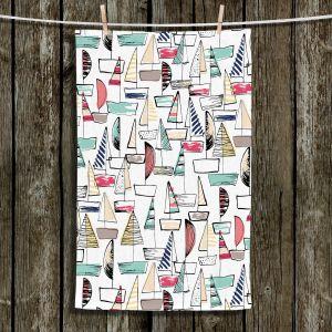 Unique Bathroom Towels | Metka Hiti - Sailboats | Ocean water harbor pattern repetition