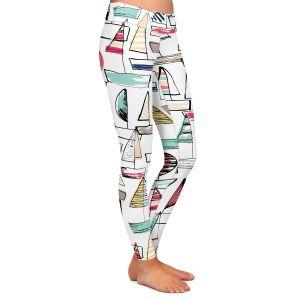 Casual Comfortable Leggings | Metka Hiti - Sailboats | Ocean water harbor pattern repetition