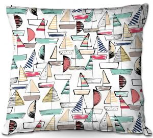 Decorative Outdoor Patio Pillow Cushion | Metka Hiti - Sailboats | Ocean water harbor pattern repetition