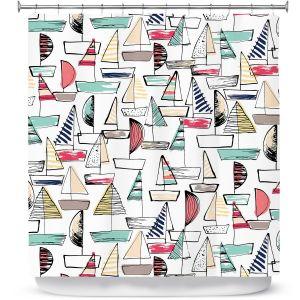 Premium Shower Curtains | Metka Hiti - Sailboats | Ocean water harbor pattern repetition
