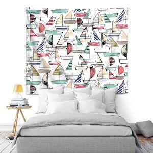Artistic Wall Tapestry   Metka Hiti - Sailboats   Ocean water harbor pattern repetition