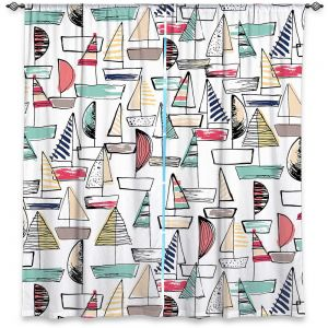 Decorative Window Treatments | Metka Hiti - Sailboats | Ocean water harbor pattern repetition
