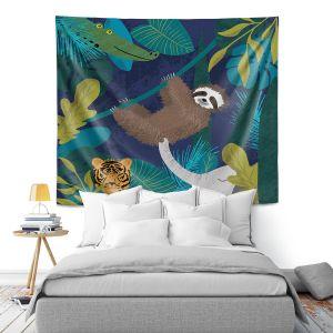 Artistic Wall Tapestry | Metka Hiti - Sloth Friends | Jungle Animals Tiger Elephant Sloth Alligator