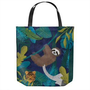 Unique Shoulder Bag Tote Bags   Metka Hiti - Sloth Friends   Jungle Animals Tiger Elephant Sloth Alligator