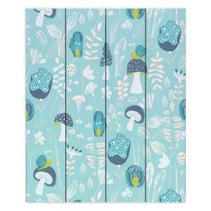 Decorative Wood Plank Wall Art  Metka Hiti - Snails Blue