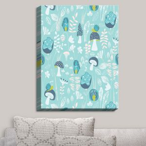 Decorative Canvas Wall Art | Metka Hiti - Snails Blue | Snails Mushrooms Flowers Leaves Nature