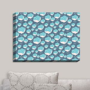 Decorative Canvas Wall Art | Metka Hiti - Snails Flowers Blue | Flowers