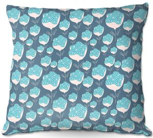 Unique Throw Pillows from DiaNoche Designs by Metka Hiti - Snails Flowers Blue | 16X16