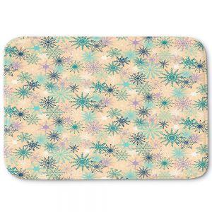 Decorative Bathroom Mats   Metka Hiti - Snowflakes Peach Teal