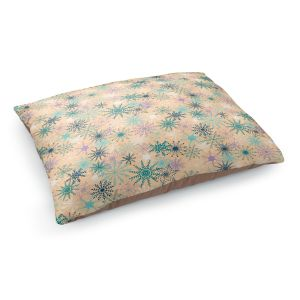 Decorative Dog Pet Beds | Metka Hiti - Snowflakes Peach Teal