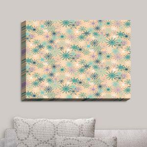 Decorative Canvas Wall Art | Metka Hiti - Snowflakes Peach Teal | Snowflakes Patterns