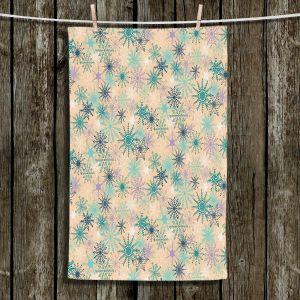 Unique Bathroom Towels   Metka Hiti - Snowflakes Peach Teal