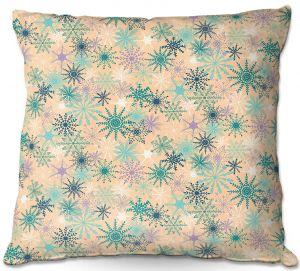 Decorative Outdoor Patio Pillow Cushion | Metka Hiti - Snowflakes Peach Teal