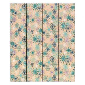 Decorative Wood Plank Wall Art |Metka Hiti - Snowflakes Peach Teal