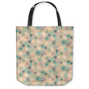 Unique Shoulder Bag Tote Bags |Metka Hiti - Snowflakes Peach Teal