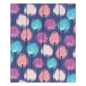 Decorative Wood Plank Wall Art | Metka Hiti - Spray Flowers | Floral nature pattern pastel repetition