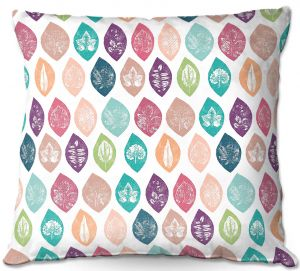 Decorative Outdoor Patio Pillow Cushion | Metka Hiti - Spring Leafs Pattern