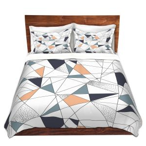 Artistic Duvet Covers and Shams Bedding | Metka Hiti - Strait Lines | Abstract pattern nature graphic straight triangle