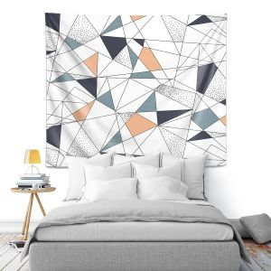 Artistic Wall Tapestry | Metka Hiti - Strait Lines | Abstract pattern nature graphic straight triangle