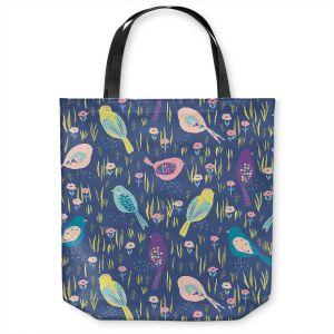 Unique Shoulder Bag Tote Bags   Metka Hiti - Summer Birds   Nature pattern repetition