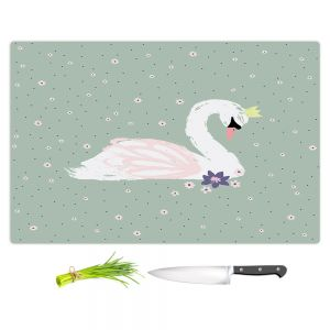 Artistic Kitchen Bar Cutting Boards | Metka Hiti - Swan 1 Green | Natue bird lake
