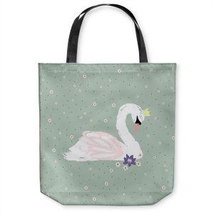 Unique Shoulder Bag Tote Bags | Metka Hiti - Swan 1 Green | Natue bird lake