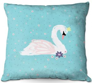 Throw Pillows Decorative Artistic | Metka Hiti - Swan 1 Teal | Natue bird lake